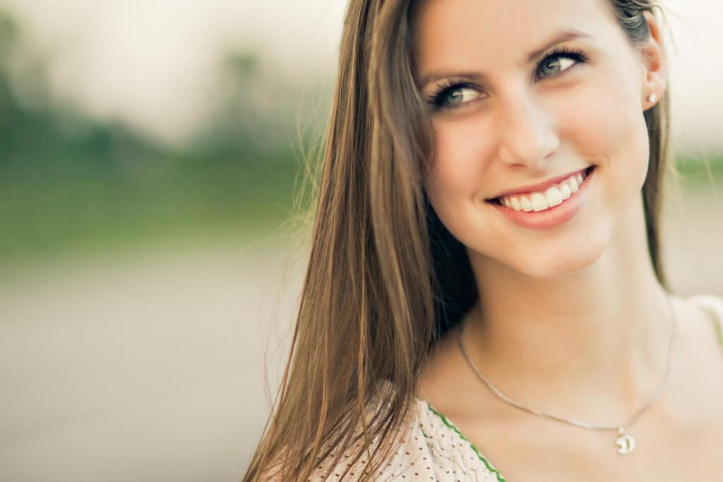 smiling girl white teeth